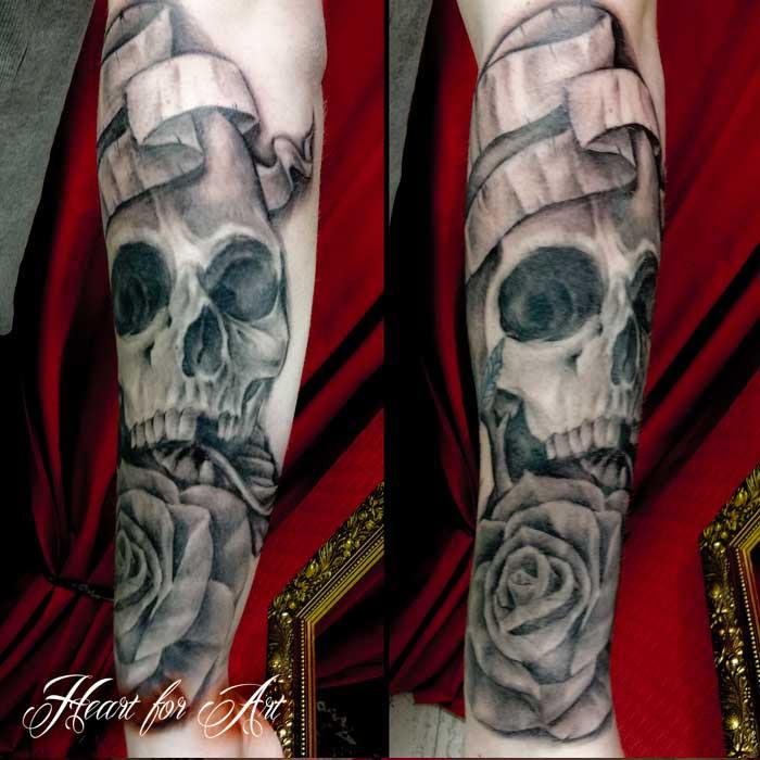 Skull Rose Scroll Tattoo Heart For Art Tattoo Shop Manchester