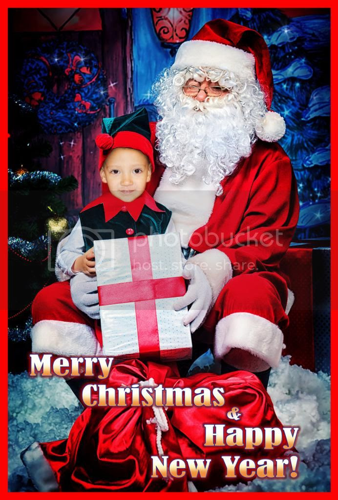 Teddy with Santa Card