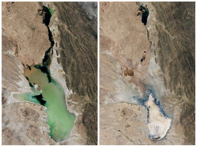 The lake in April 2013 (left) and January 2016 (right)