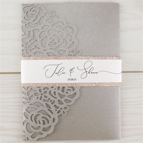 Amelia with Glitter and Belly Band Wedding Invitation