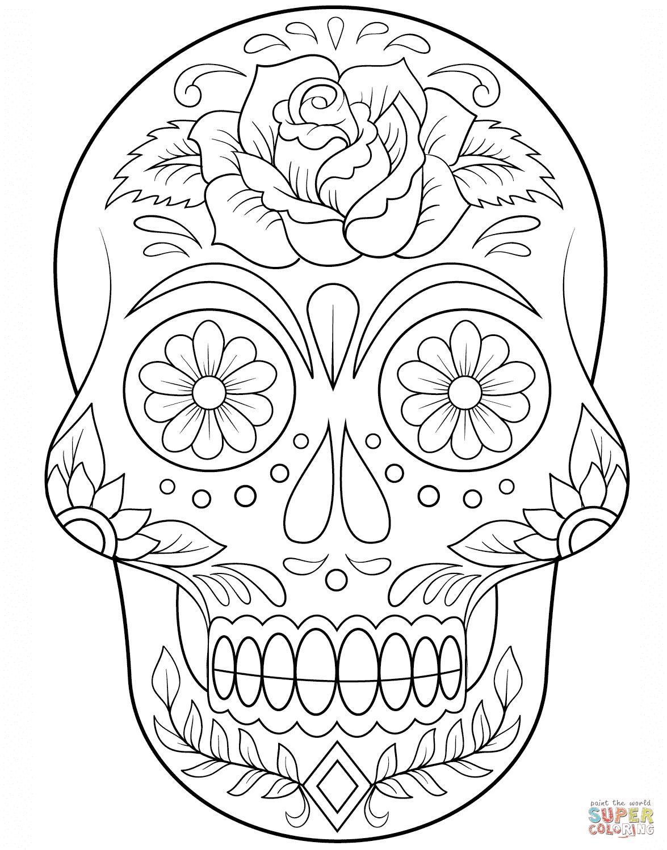 Dibujo De Calavera De Azúcar Con Flores Para Colorear Dibujos Para