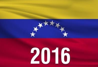Bandera de la República Bolivariana de Venezuela con imagen alusiva al año 2016