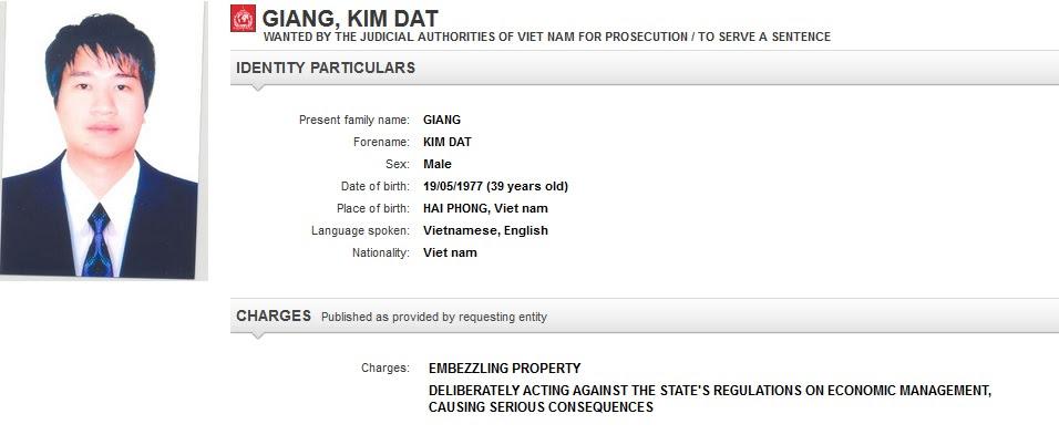 Phần đăng tin truy nã Giang Kim Đạt trên trang Interpol - Cập nhật lúc 11h30 tối giờ VN