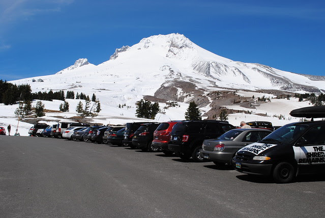 parking lot at Timberline Lodge with the top of Mt. Hood in the distance