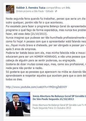 Câmera da Record desabafa sobre comentário de Geraldo Luís