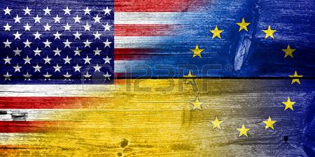 26322067-ukraine-eu-and-usa-flag-painted-on-old-wood-plank-texture