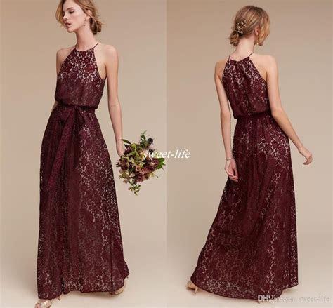 Deep Burgundy Lace Long Bridesmaid Dresses Halter Sheath