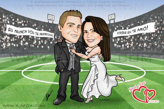 caricatura corpo inteiro, noivos, casal, estádio de futebol, casal corintiano, noivinhos sissi e leo, caricatura para casamento, by ila fox