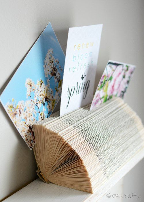 How to use a discarded or thrift store book to make a photo holder