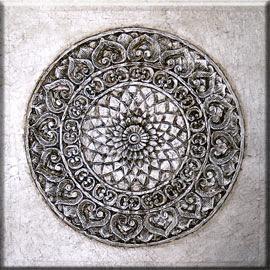 Imagen Cuadro mandala roseton PLATA 100x100
