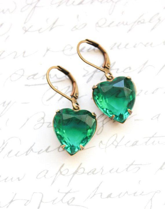 Heart Earrings Emerald Green Rhinestone Earrings Kelly Green Vintage Glass Drop Earrings Valentines Day Long Earrings Dangle Earrings