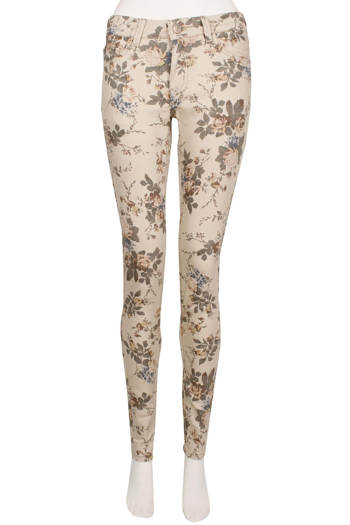 View Item Cream Floral Skinny Jeans