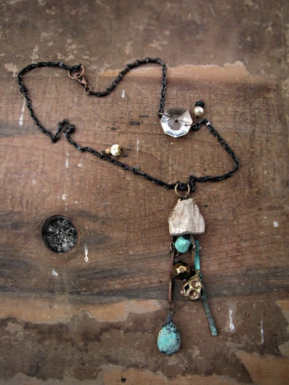 skyfather - artisan rustic necklace - turquoise - drift wood - vintage chain - eco friendly tribal sci fi