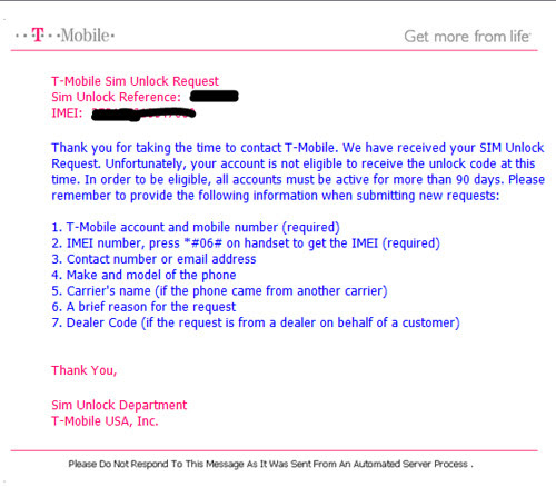 Email from TMobile denying my request to unlock my cell phone