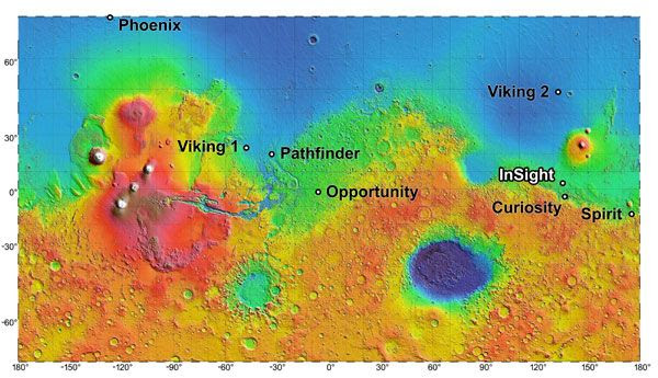 A Martian map showing InSight's future landing site as well as the locations of past and present NASA spacecraft on the Red Planet's surface.