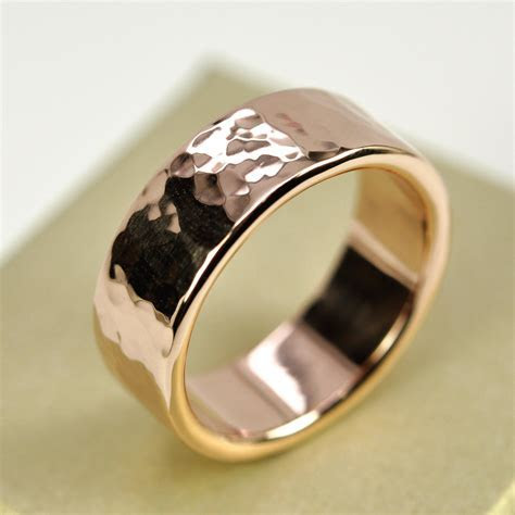 14K Rose Gold Mens Wedding Band Hammered Gold Ring 8mm Wide