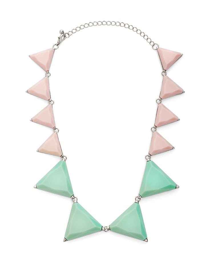 If you're already craving spring fashion, this is the perfect necklace to help you transition. The sorbet tones give it a muted, feminine feel while the shapes add just the right amount of edginess.