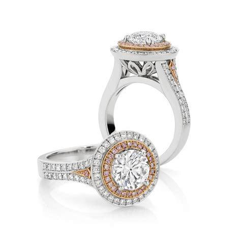 Round brilliant cut white & pink diamond ring   Engagement