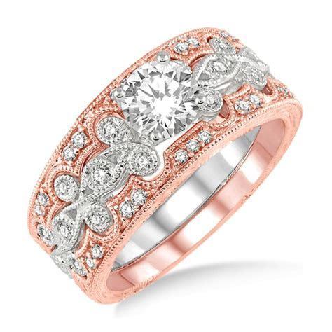 1.00 Carat Vintage Trio Bridal Set Engagement Ring with