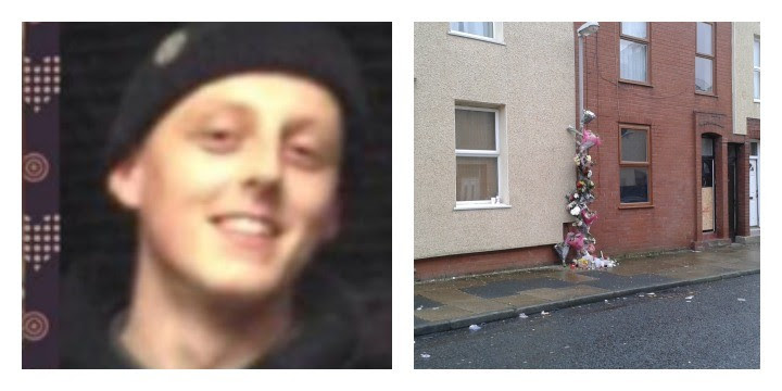 Liam Hewitson, left, was killed by his pet dog Trigger. Floral tributes are being left at the scene in Fishwick.