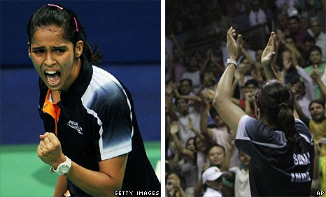 Saina Nehwal on court, left, and celebrating with Indian fans, right