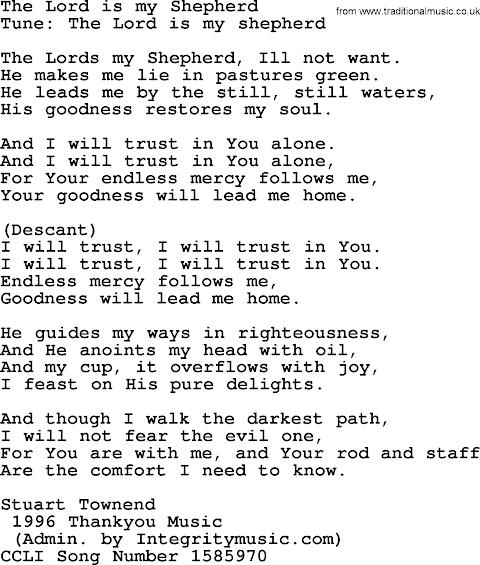 The Lord Is My Shepherd Lyrics Song