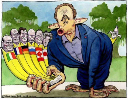 G8 summit, cartoon by Steve Bell