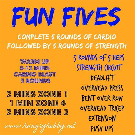 fun fives workout hungry hobby