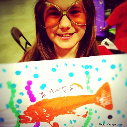 The Awesome Fish...come make one with me today. #artbreak #day6  by Kathryn Usher