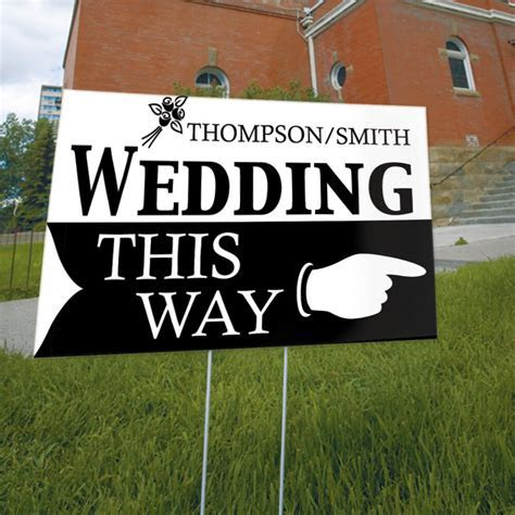 Wedding This Way Personalized Wedding Directional Sign