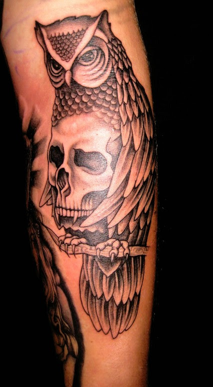 Owl And Skull Tattoo By Merry Wilson Tattoonow