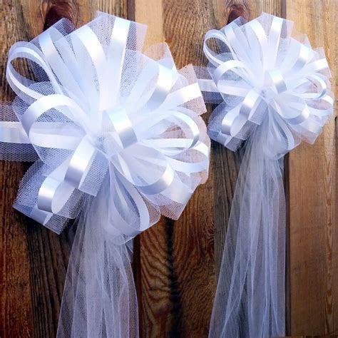 "6 Large 10"" White Tulle Pew Bows Wedding Church Aisle"