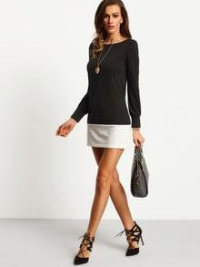 Black Round Neck Contrast White Hem Dress
