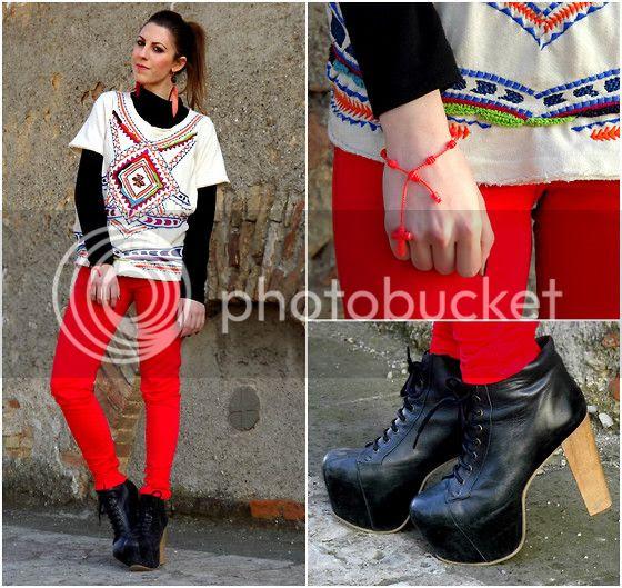 Zara Aztec Sweatshirt Zara Bright Red Skinny Pants Jeffrey Campbell Lita Espana Heels H&M Feather Earrings Rayban Sunglasses Red Decenario Bracelet Brown Nailpolish Collistar 85 Cioccolato