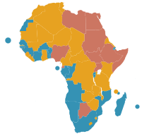 Carte des pays africains selon le statut de la...