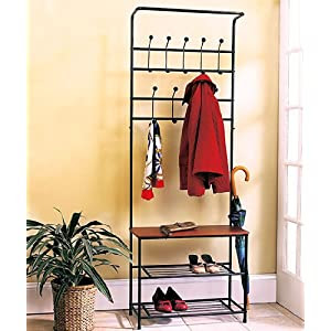 Amazon.com: Metal Entryway Storage Bench with Coat Rack ...
