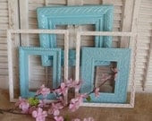 Grouping of 5 frame set / Paris Apartment / Frame / Aqua Blue And White / Shabby and Chic / Wall hanging Cottage Chic - RusticPrairieCottage