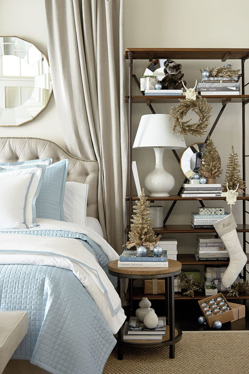 Blue and white bedroom decorated for the holidays