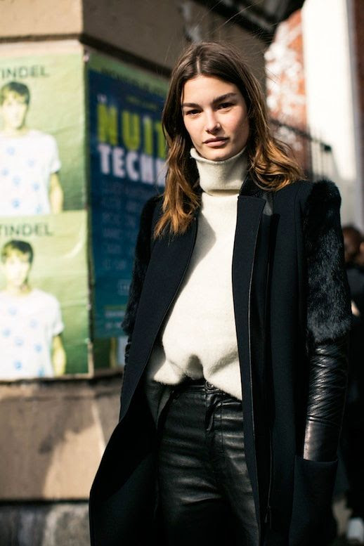 Le Fashion Blog Fall Street Style Pfw Layered Look Black Coat With Faux Fur Cream Turtleneck Sweater Leather Pants Via Vogue Paris