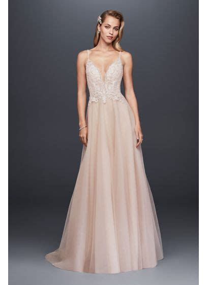 Sheer Beaded Bodice Organza A Line Wedding Dress   David's