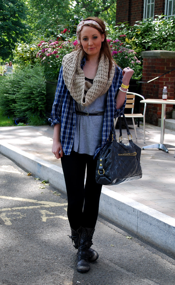 Scarf and military boots