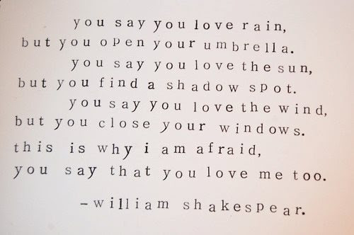 You Say That You Love Rain But You Open Your Umbrella When It Rains