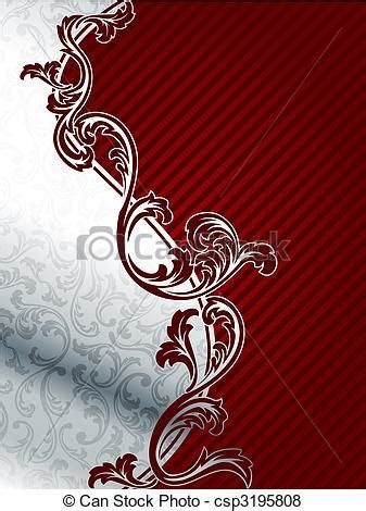 Red and silver elegant floral background. Classy two part