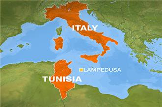 Map showing Italy and Tunisia where many people from that North African state have fled the country to southern Europe in the aftermath of the uprising on Dec. 17, 2010. Ben Ali has resigned but the RCD largely remains in power. by Pan-African News Wire File Photos
