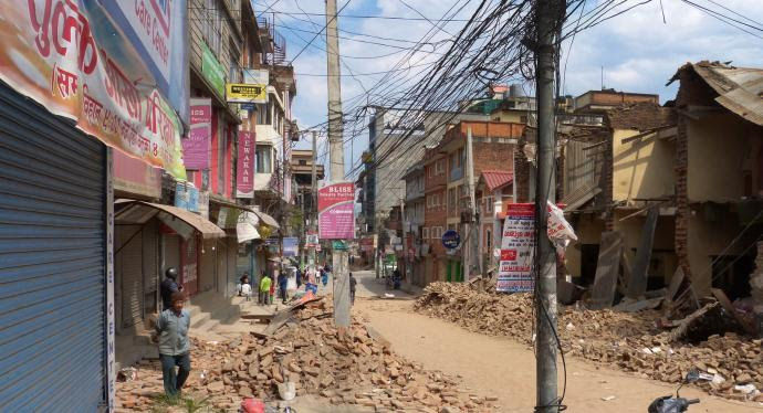The 7.8 magnitude earthquake that struck Nepal on April 25, the most powerful quake in 81 years to hit the region, caused significant damage in Patan Durbar Square in Kathmandu. Photo by ACT Alliance, DCA