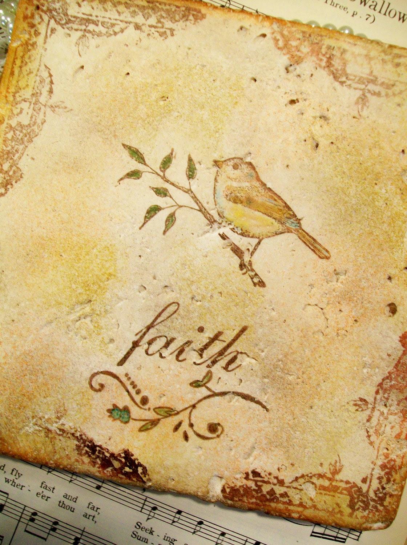 Trivet Religious Travertine Antiqued Bird and Faith Trivet Spoon Rest Hot Pot Wine Bottle Holder Christian Art