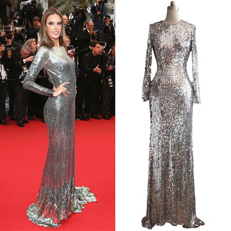 women silver sequins long sleeves prom formal party