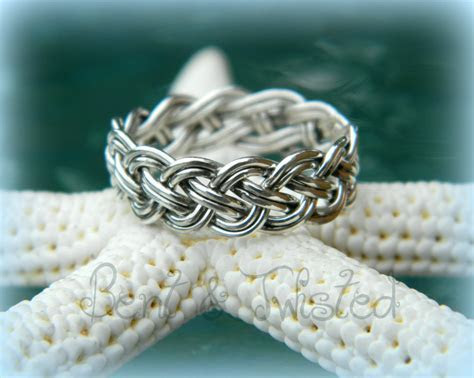 Sterling Silver 8 Strand Woven Ring Braided Wedding Band