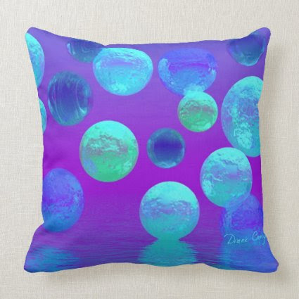 Violet Mist - Cyan and Purple Abstract Light Pillow