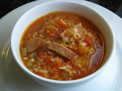 Smoky Sausage & Rice Soup